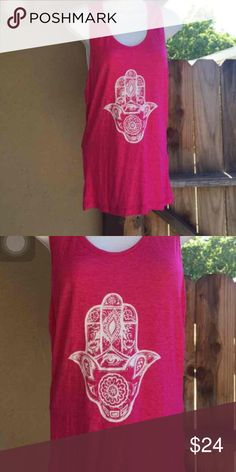 Hot pink Hamsa women's small/medium tank New artwork for our special 2016 island Goddess collection, specially made by our coveted Balinese artist, the Hamsa hand wards off evil spirits . Cut on lightweight cotton this is our midi cut for small-large handmade Tops Tank Tops