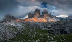 After a big storm In Dolomite Mountains I climbed up to a higher point at sunset maybe I can get some light on Tre Cime... And it happened! In the mountains the bad weather almost every time brings spectacular and dramatic atmosphere. I was very lucky even that the light lasts maybe only one minute. The atmosphere was absolutely fabulous...