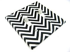 Black and White Chevron Remix Double Light Switch by ModernSwitch, $8.00