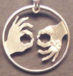 Interpreter ASL Cut Coin Jewelry. $14.95, via Etsy.