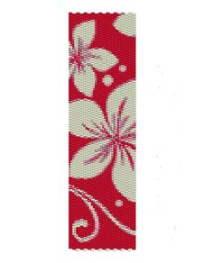 White flowers peyote pattern, the red and white peyote pattern is (1.9in x 6.85in). It can be re-size if you request it.    The PDF file includes
