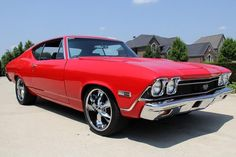 1968 Chevrolet Chevelle SS 396,V8 engine.Custom Red Paint,Nitto Tires - 235/40/18 Front, 285/40/18Rear