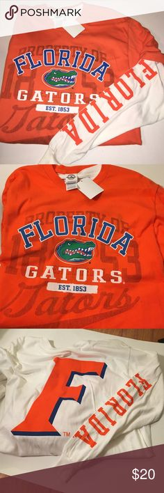 🐊Florida Gators Layered Tees🐊 Two tees that can be worn 3 ways! Official licensed collegiate product. This can be worn by ladies too! Perfect condition, open to reasonable offers! OLCP Florida Gators Shirts Tees - Long Sleeve
