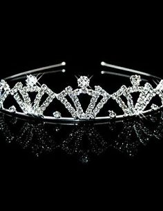Wedding Bridal Flower Girls Kids Crystal Pearl Hair Band Headband Tiara