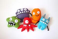 Individual Felt Monster - Plush Monster Toys - Handmade Felted Toy Character. £12.00, via Etsy.