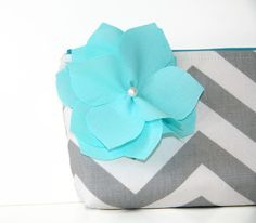 chevron clutch purse in gray and white with by SassyStitchesbyLori, $26.00