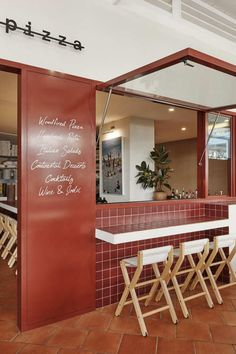 The window is great. Potentially for the bar or bakery? I like the functionality. Australian Interior Design, Interior Design Awards, Restaurant Interior Design, Modern Interior Design, Pizza Restaurant, Restaurant Logo, Modern Restaurant, Plywood Furniture, Design Furniture
