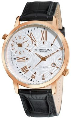 Stuhrling Original Men's 343.33452 Symphony Eclipse Polaris Swiss Quartz Date and Dual Time Zone Rose Tone Watch Stuhrling Original. $109.00. Dual time zone sub dial and quick date complication. Water-resistant to 165 feet (50 M). Polished rose gold layered round case with protective Krysterna crystal. Black alligator embossed genuine leather strap with rosetone buckle. Silver designed dial with rosetone markers and hands. Save 68%!