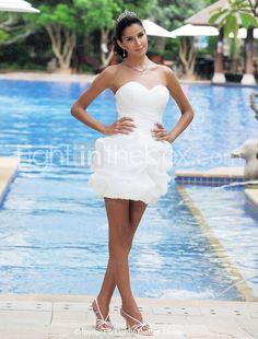 Mini Vestido de Casamento em Cetim e Organza - BRL R$ 247,26
