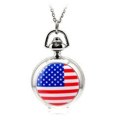 80cm Chain Antique Retro Steampunk Bronze Hollow Quartz Pocket Watch Necklace Pendant Sweater Chain Women Gifts America Flag