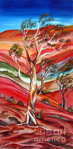- T-Shirts Trees 3dRose Art by Mandy Joy an Impressionist Image of a Family of Trees