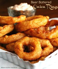 This homemade beer batter is not only out of this world on these Beer Battered Onion Rings but works beautifully for seafood, too. Serve these onion rings as an appetizer or as a side dish at your next fish fry.