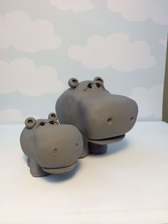 Polymer clay hippo and baby hippo (created by Kelly Bouchard)