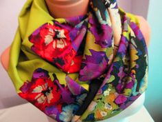 Colorful Flowery Infinity Scarf,Shawl Circle Scarf,Loop scarf,Gift Idea,Women Scarf,Scarf,scarves