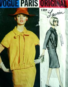 VPO 1359 ca.1964 Lanvin 1Pc Dress.Easy fitting collared dress has bloused bodice with loop & button closing.Short or 3/4 length raglan sleeves.Optional self tie bow.Vogue Pattern Book Aug/Sep'64 Harper's Bazaar British Edition Mar'64