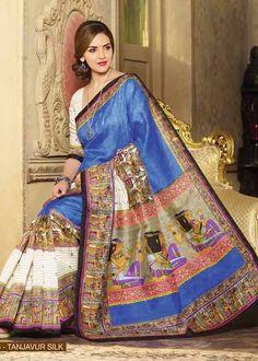 Esha Deol Saree -Multicolor Bhagalpuri Silk Saree with Printed and Lace Work - Vipul10958
