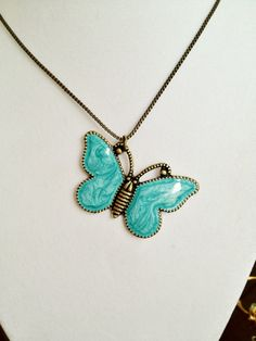 Turquoise Butterfly pendant - NECKLACE by joytoyou41 on Etsy - jewelry - fashion accessories