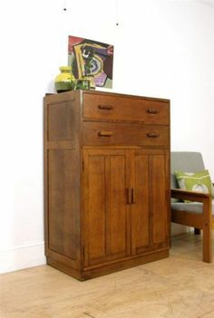 Vintage Utility Tallboy Cabinet / Large Cupboard & Chest Of Drawers
