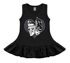 black sleeveless dress ring spun combed cotton tank top dress with ruffle trim. Hand printed in USA. Is this a gift? You can include a personalized message during checkout. Toddler Fashion, Toddler Outfits, Kids Fashion, Girl Outfits, Fashion Outfits, Gothic Baby Clothes, Cute Baby Clothes, Halloween Mode, Halloween Fashion