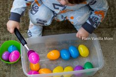 Scooping games are great fun.  Target phrases:  pick up,  more eggs, got it!