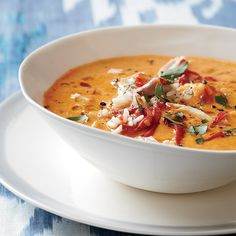 Creamy Piquillo Pepper and Chickpea Soup with Chicken // More Warming Soup Recipes: http://www.foodandwine.com/slideshows/warming-soups #foodandwine