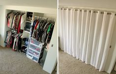 Closet Curtains instead of closet doors. From Like To Love p Closet Curtains instead of closet doors From Like To Love p Curtain Wardrobe, Curtains For Closet Doors, Bedroom Closet Doors, Bedroom Closet Storage, Mirror Closet Doors, Curtain Closet, Storage Room, Corner Closet Organizer, Coat Closet Organization