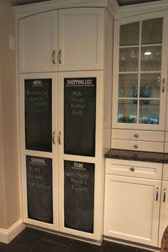 Get organized with a kitchen command center.  I DIYed this  using adhesive chalkboard vinyl, my @Silhouette America   cameo, and washi tape!  Best part, you can take it down and your cabinets won't be ruined!