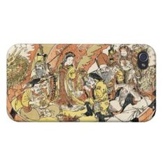 The Seven Gods Good Fortune in the Treasure Boat iPhone 4 Cover #gift #accessory #gods #fortune #treasure #boat #legend #myth #Japan #japanese #oriental #art #classic #vintage