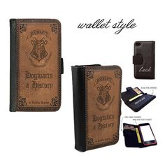 iPhone and Galaxy leather wallet case - Harry Potter Hogwarts a History