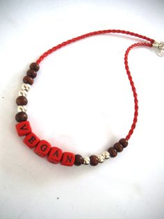 VEGAN Lifestyle Beaded Choker Necklace with Red Faux Leather, Wood Letter Bead Jewelry, Vegan  Jewelry, Eco-Friendly by TerriJeansAdornments on Etsy