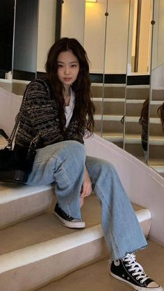 Style Outfits, Kpop Fashion Outfits, Blackpink Fashion, Korean Outfits, Mode Outfits, Casual Outfits, Mode Kpop, Mein Style, Korean Street Fashion