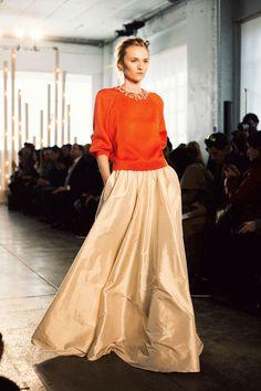 Orange cashmere sweater with beaded embellishment, pale gold silk taffeta evening skirt with slash pockets - by Jenny Packham fall / winter 2014