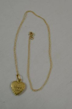 """10k Yellow Gold I Love You Heart Pendant w/ 14k 18 1/2"""" Inch Necklace Chain #Pendant"""
