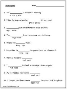Homonyms words and worksheets. Homophone words and worksheets. Worksheets for esl: Worksheet # 13