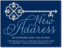 Precious New Address - Moving Announcement Postcards in Navy or Dark Gray   Sarah Hawkins Designs