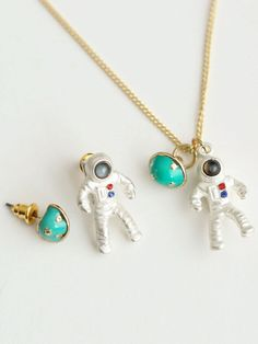 Multicolor Spaceman And Planet Pendant Necklace