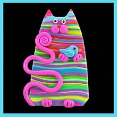 Rainbow Striped Kitty Cat & Bird   Flickr - Photo Sharing!