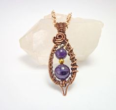 wire wrapped pendant, amethyst pendant, amethyst necklace, amethyst jewelry, wire wrap jewelry, heady jewelry, bead pendant,  gift for her by PSJEWELRYArt on Etsy