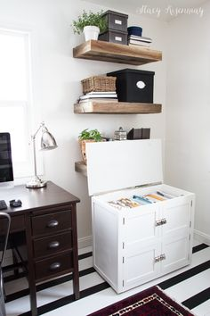 rolling wood filing cabinet blends into decor