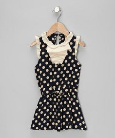 Look at this #zulilyfind! Navy & Crème Polka Dot Ruffle Dress - Toddler #zulilyfinds