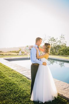 By the Pool at Lekai Ranch #pasoweddings #weddingatthepool