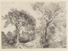 Trees in West End Fields, Hampstead John Constable Landscape Sketch, Landscape Drawings, Landscape Art, Landscape Paintings, Easy Drawings, Pencil Drawings, Van Gogh Landscapes, Value In Art, Landscaping Near Me