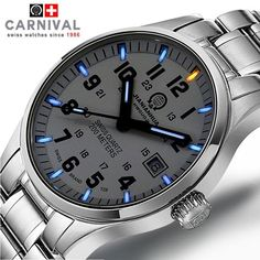 light watch on sale at reasonable prices, buy Tritium Gas Luminous Carnival Brand Watch Men Waterproof Quartz Watch Male Full Steel Military Blue watches relogio masculino from mobile site on Aliexpress Now! Stylish Watches, Luxury Watches For Men, Cool Watches, Casual Watches, Tritium Watches, Seiko Watches, Swiss Army Watches, Beautiful Watches, Watch Brands
