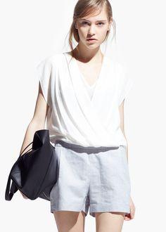 Linen-blend wrap jumpsuit