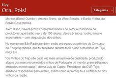 'Caravana dos Vinhos do Tejo' - 'Grande Prova Anual de Vinhos do Tejo' no Site da Revista Viagem e Turismo, com Guia Quatro Rodas, Blog Ora, Pois!