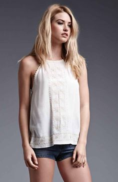 Hooked on High-Neck Embroidered Tank Top that I found on the PacSun App