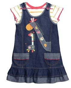 A gorgeous 2 piece pinafore style denim dress set with a giraffe appliqué and embroidered stitching, comes with matching stripe top. This product is certified Fair Trade Made from fair trade cotton – machine washable Baby Boutique Clothing, Denim Fashion, Giraffe, Girl Outfits, Summer Dresses, Dress Set, Stripe Top, Cotton, Baby Things