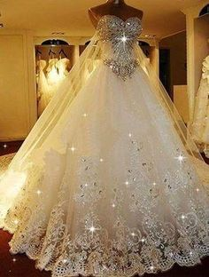 Cheap Substantial 2019 Wedding Dresses Sparkly Rhinestone Lace A Line Wedding Dresses, 2019 Luxurious Long Custom Wedding Gowns, Affordable Bridal Dresses, 17111 I belong to the more is better school of thought! Photo by LightInTheBox Brand:JUEXIU Bridal Most Beautiful Wedding Dresses, Dream Wedding Dresses, Beautiful Gowns, Bridal Dresses, Gown Wedding, Party Dresses, Bridesmaid Dresses, Wedding Dresses With Bling, Bling Dress