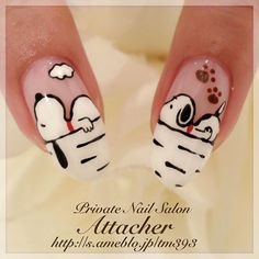 The Best Nail Art Designs – Your Beautiful Nails Dog Nail Art, Animal Nail Art, Dog Nails, Nail Art Diy, Easy Nail Art, Dog Art, Simple Nail Art Designs, Best Nail Art Designs, Snoopy Nails