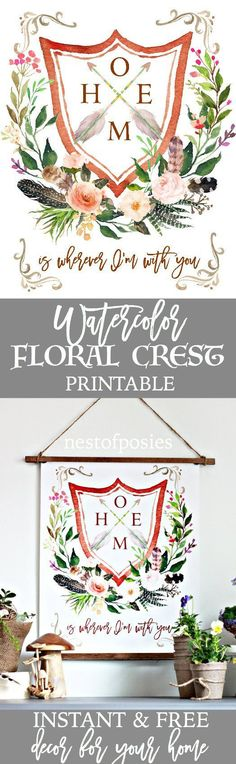 Watercolor Floral Crest Printable - Nest of Posies